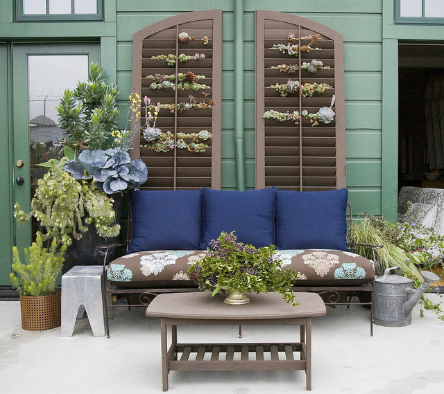 Repurposed Shutters with Succulents | Best Outdoor Wall Decor Ideas