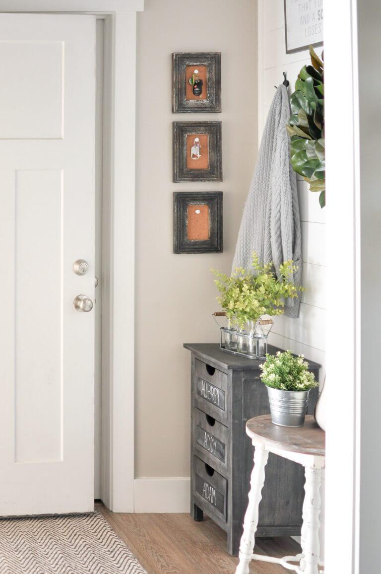 Key hangers + Chalkboard 3 Drawer Chest + Planters | Best Small Entryway Decor & Design Ideas | Small Mudroom Ideas | FarmFoodFamily.com