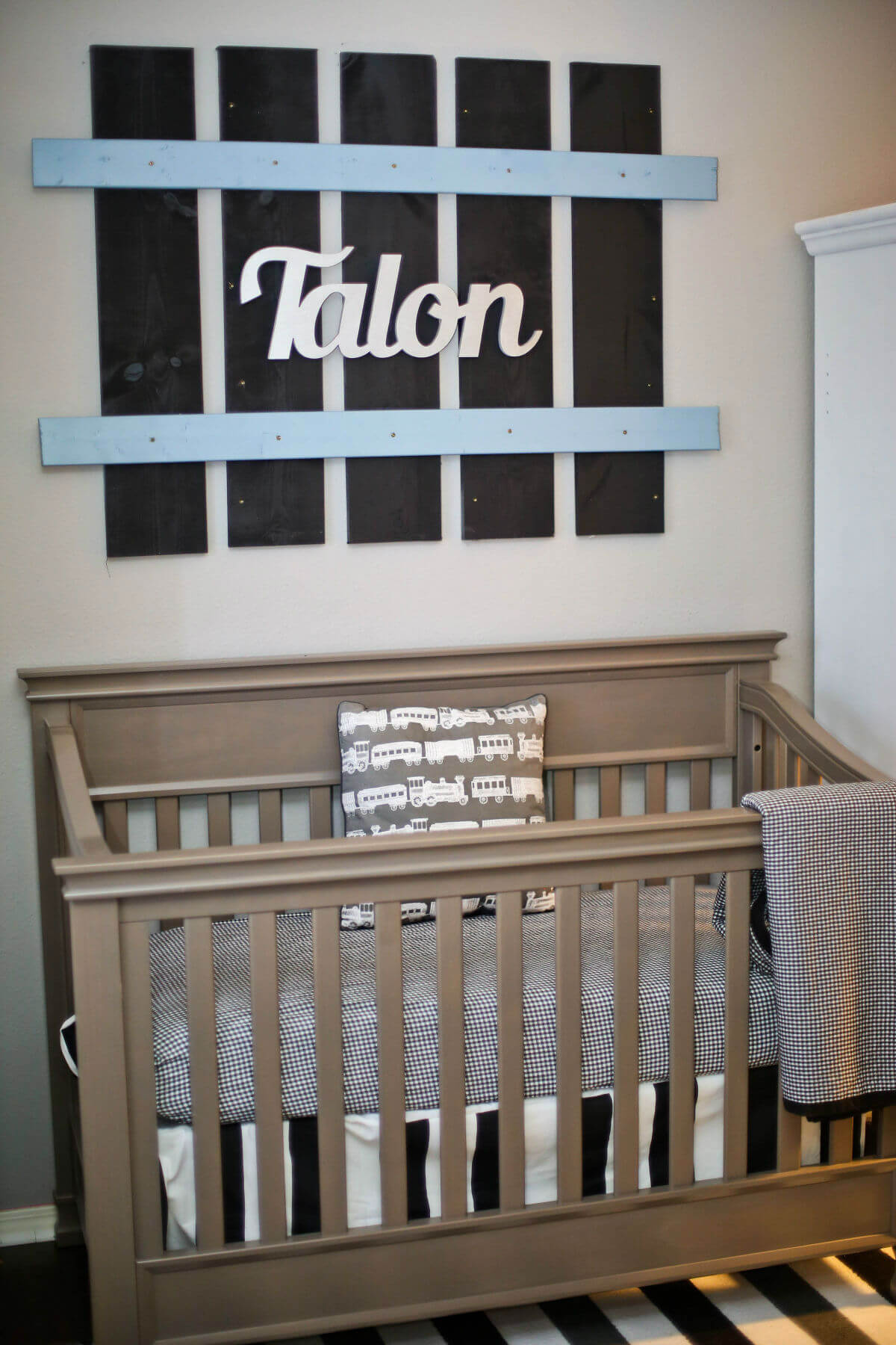 Railroad track name made | Bedding, Window Treatments, and Rugs for the Train Theme Nursery or Bedroom