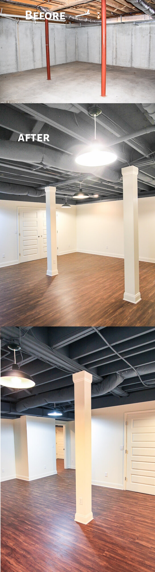 Painted Basement with Low Ceilings