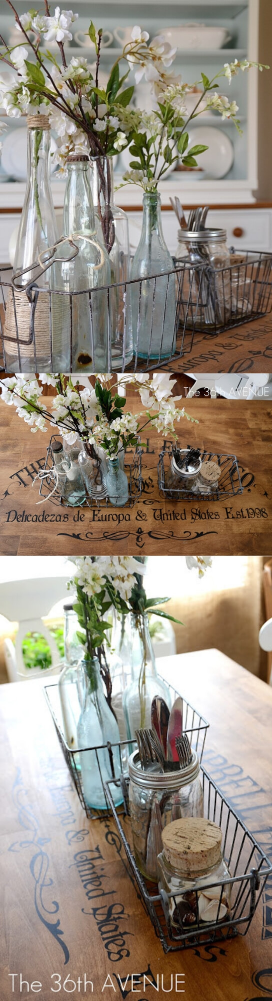 A table top with Sprigs of Flowers from Old Bottles | Stunning Farmhouse Dining Room Design & Decor Ideas