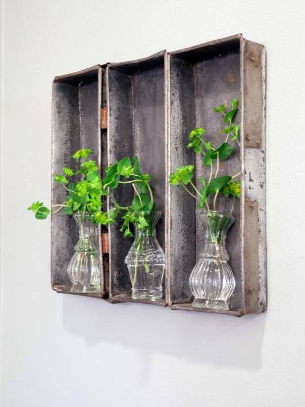 Old metal trays on the wall | Best Farmhouse Indoor Plant Decor Ideas & Designs