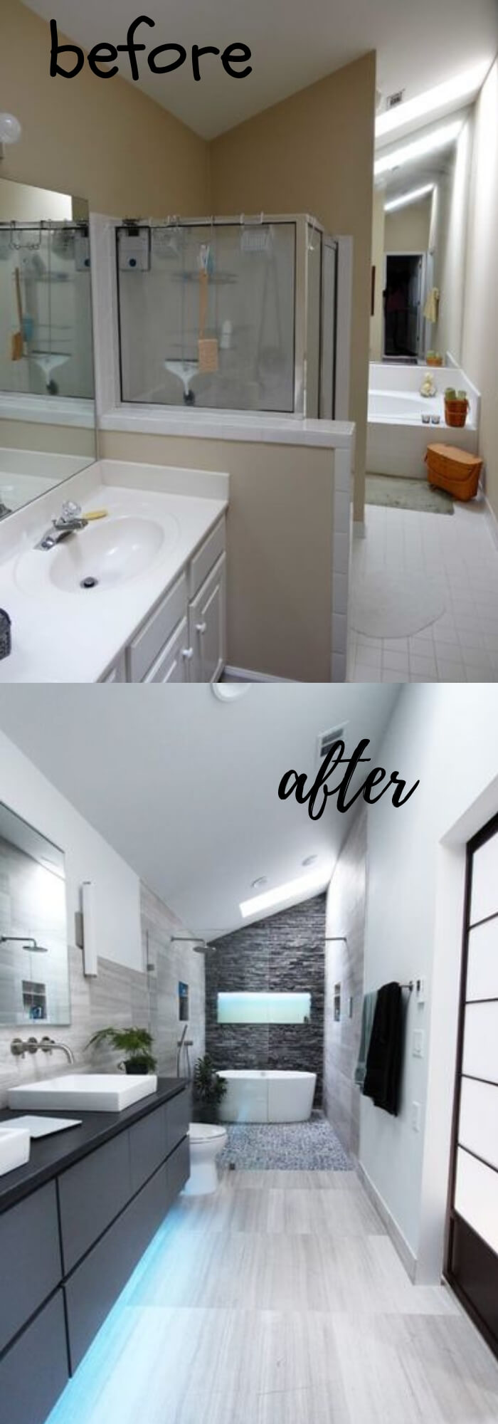 A Chopped-Up Bathroom Goes Streamlined and Swank