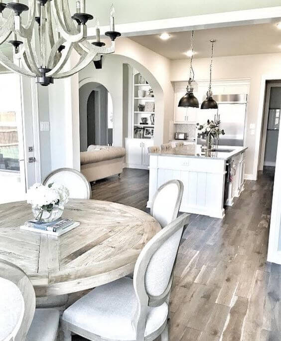 White space with natural light wood accents | Stunning Farmhouse Dining Room Design & Decor Ideas