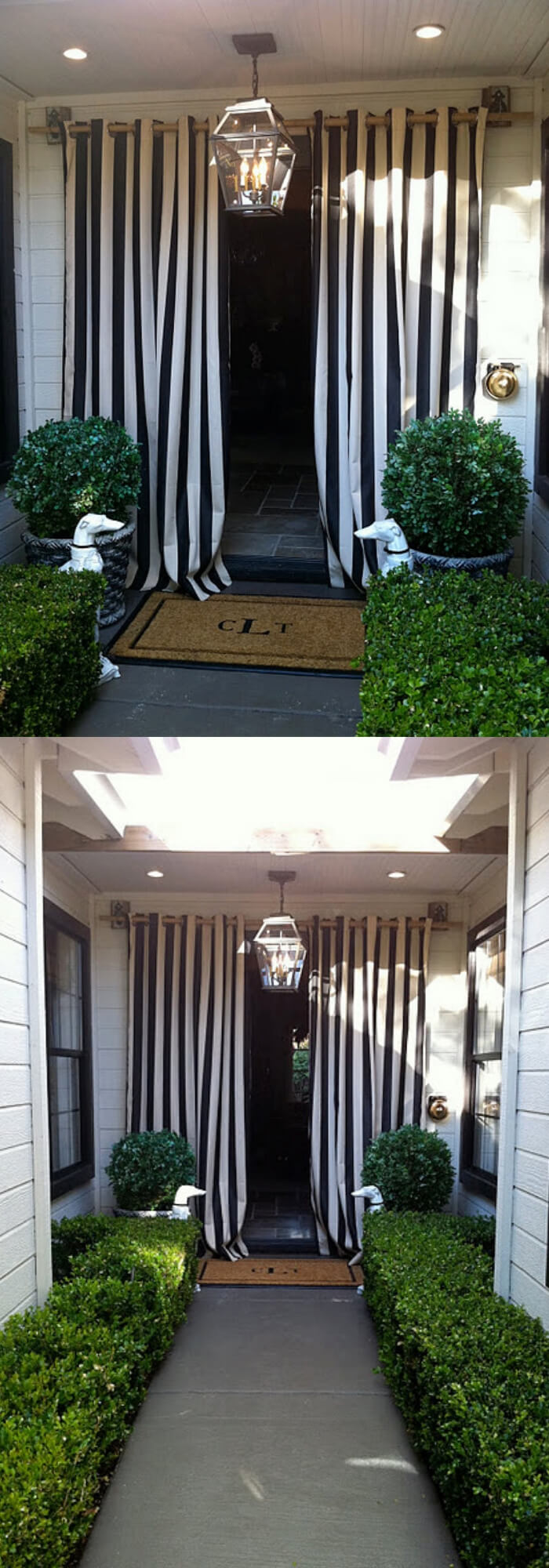 Black and white canopy stripes