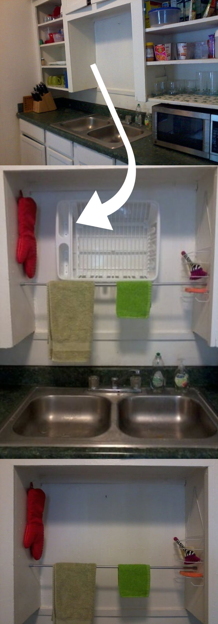 A dish draining rack above the sink