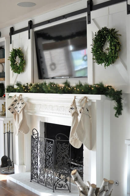 A mantel with a TV above