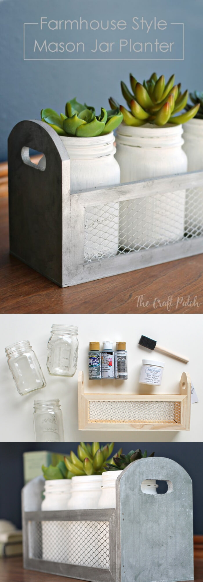 DIY Farmhouse Style Mason Jar Planter | Best Farmhouse Indoor Plant Decor Ideas & Designs