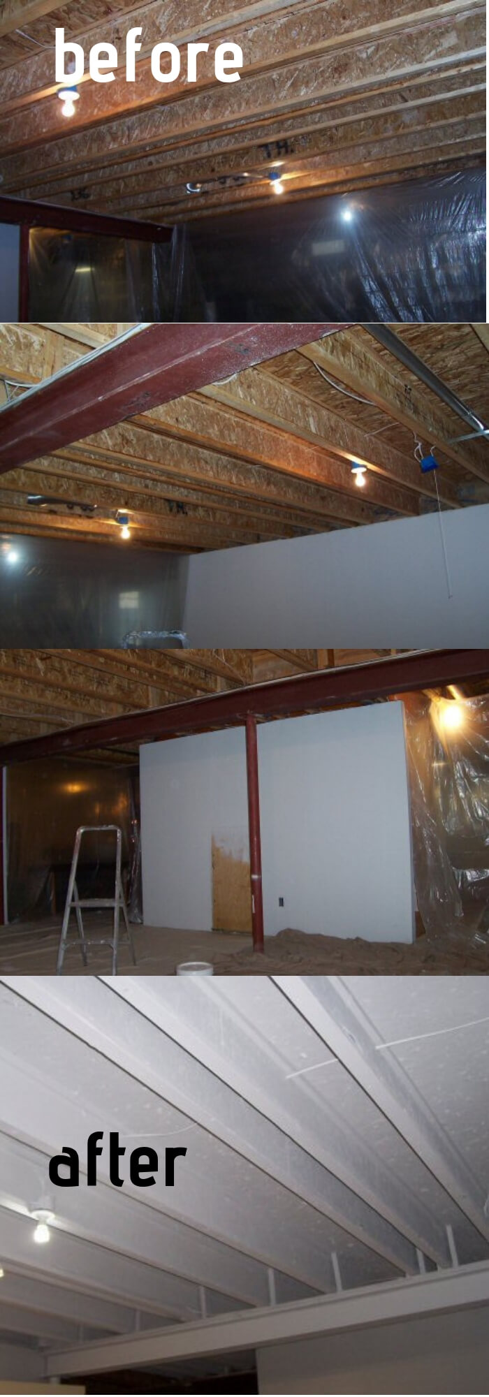 Paint a Basement Ceiling with Exposed Joists