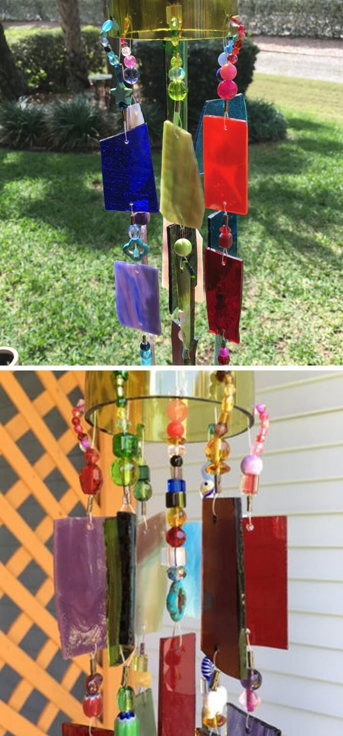 Wind Chime Sun Catcher Stained Glass Up-cycled