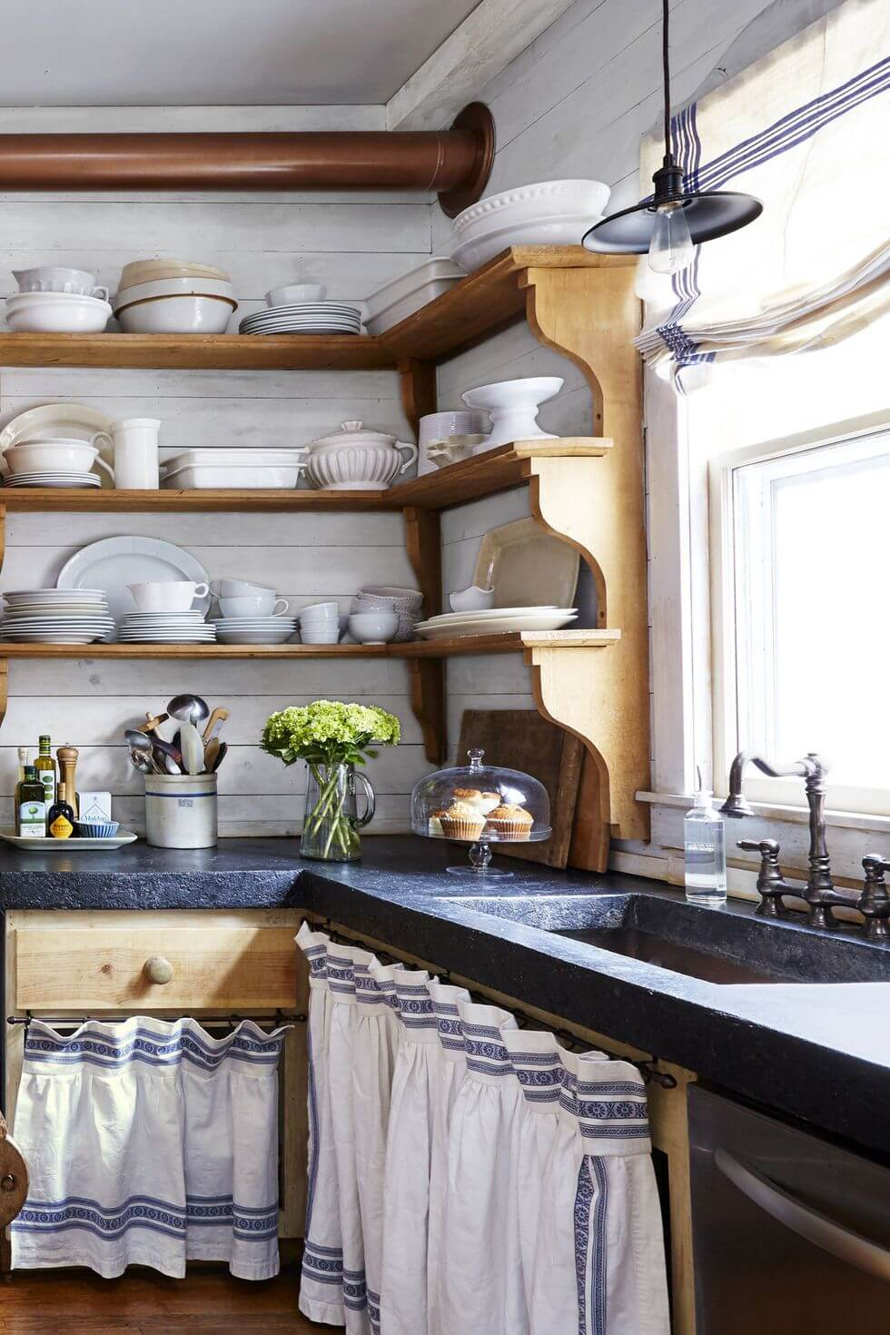 Pine shelves with blue countertops, andskirted storage from old linen tablecloth | Inspiring Farmhouse Kitchen Design & Decor Ideas