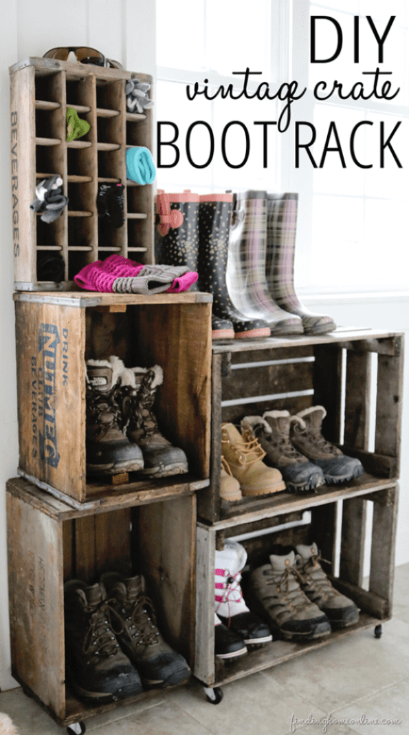 Vintage Crate Boot Rack | Smart Shoe Storage Ideas & Designs For Any Zoom Size