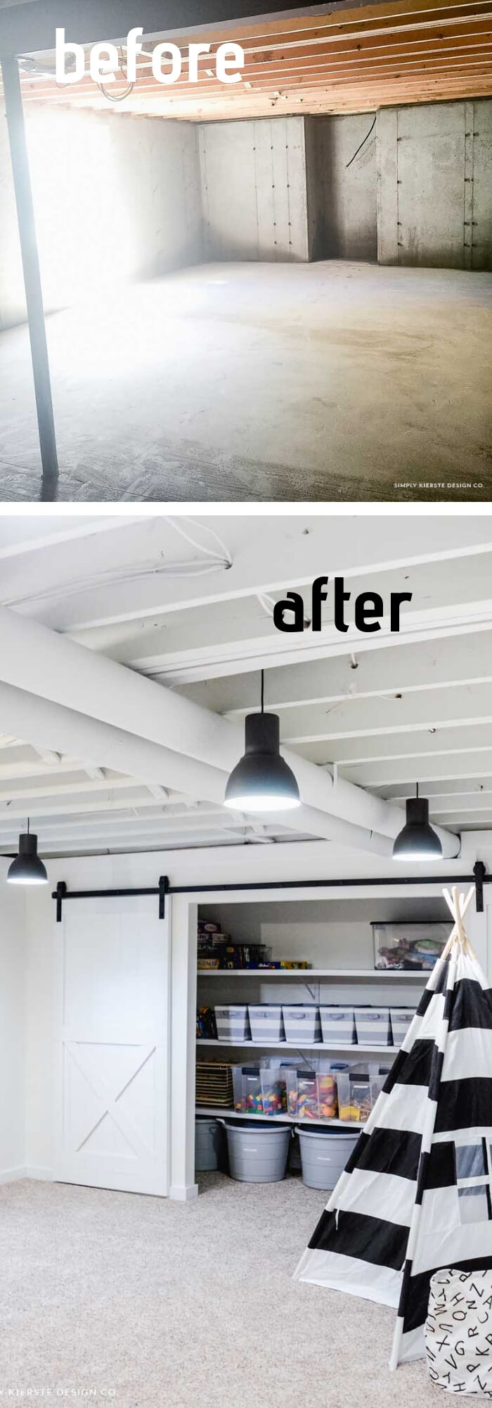 White Painted Basement Ceiling