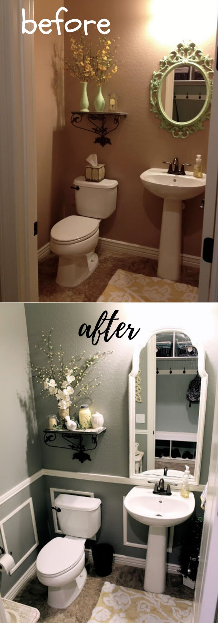 Thrifty Bathroom Makeover withfaux wainscoating