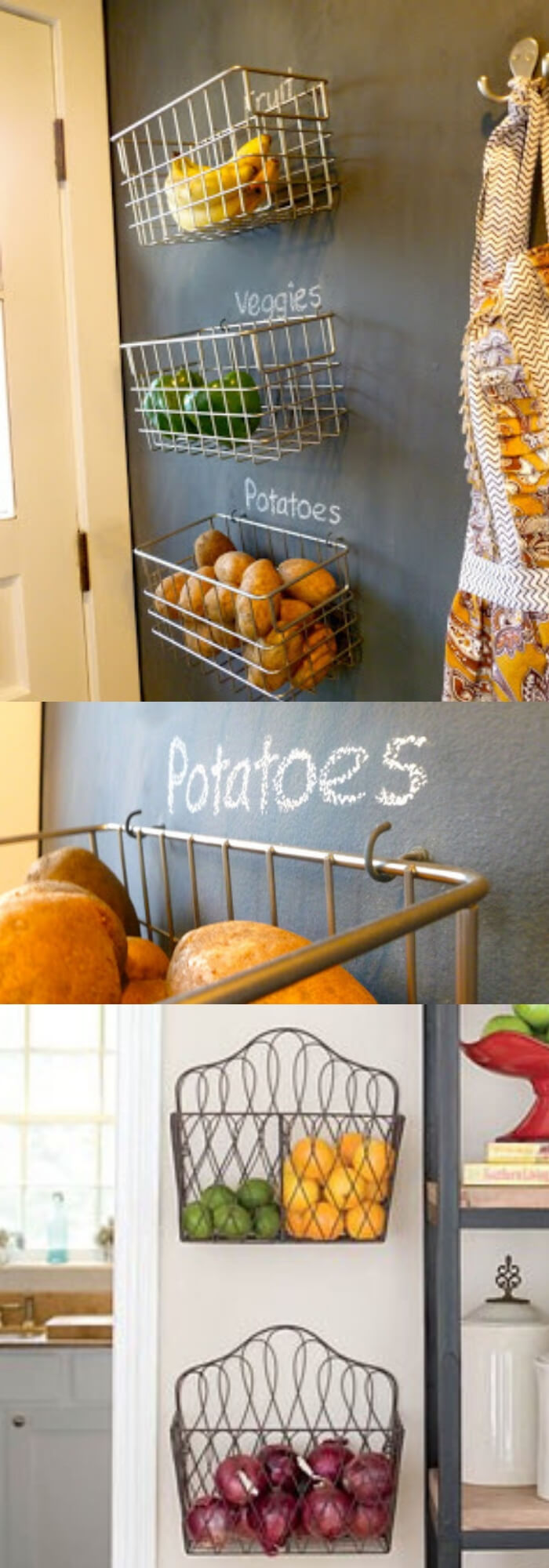 Fruit and Veggie Hanging Wall Baskets | Best Fruit and Vegetable Storage Ideas For Your Kitchen