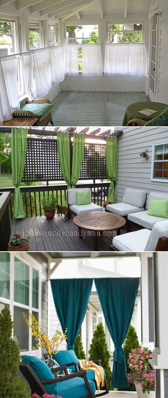 Add privacy to your porch with panels of outdoor curtain