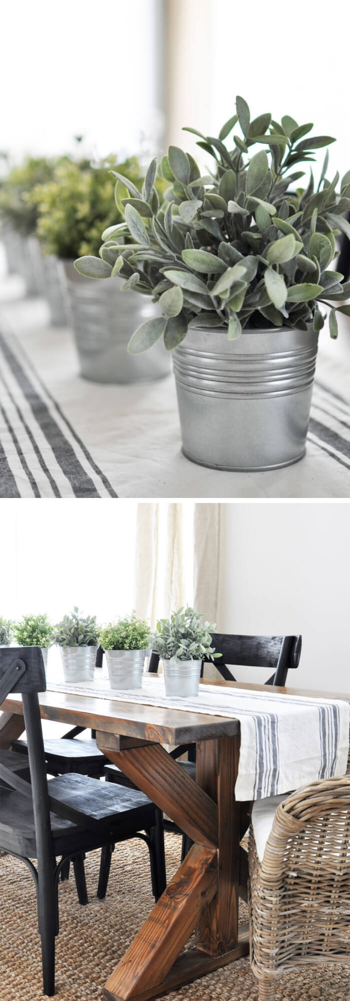 Herbs in Galvanized buckets | Best Farmhouse Indoor Plant Decor Ideas & Designs