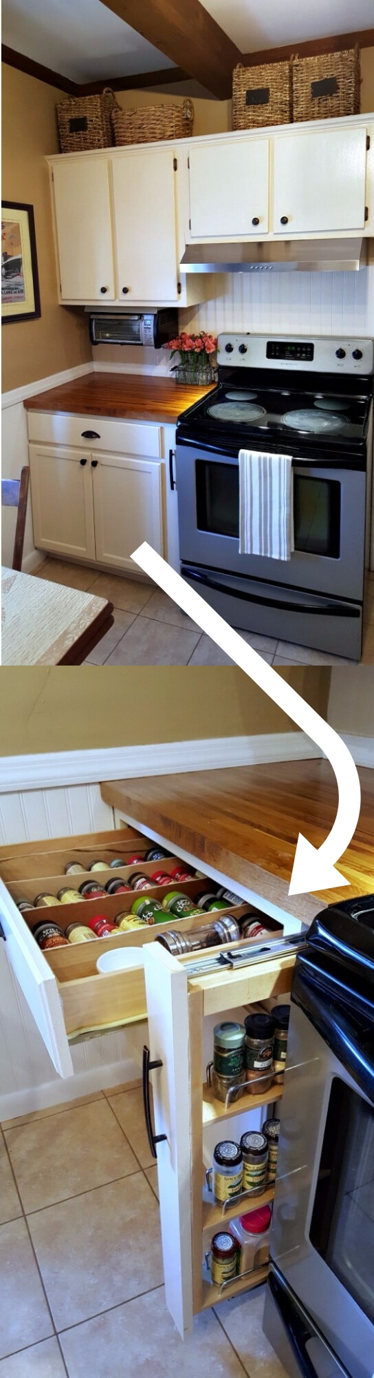 A pull out cabinet spice rackbetween the stove and the counter