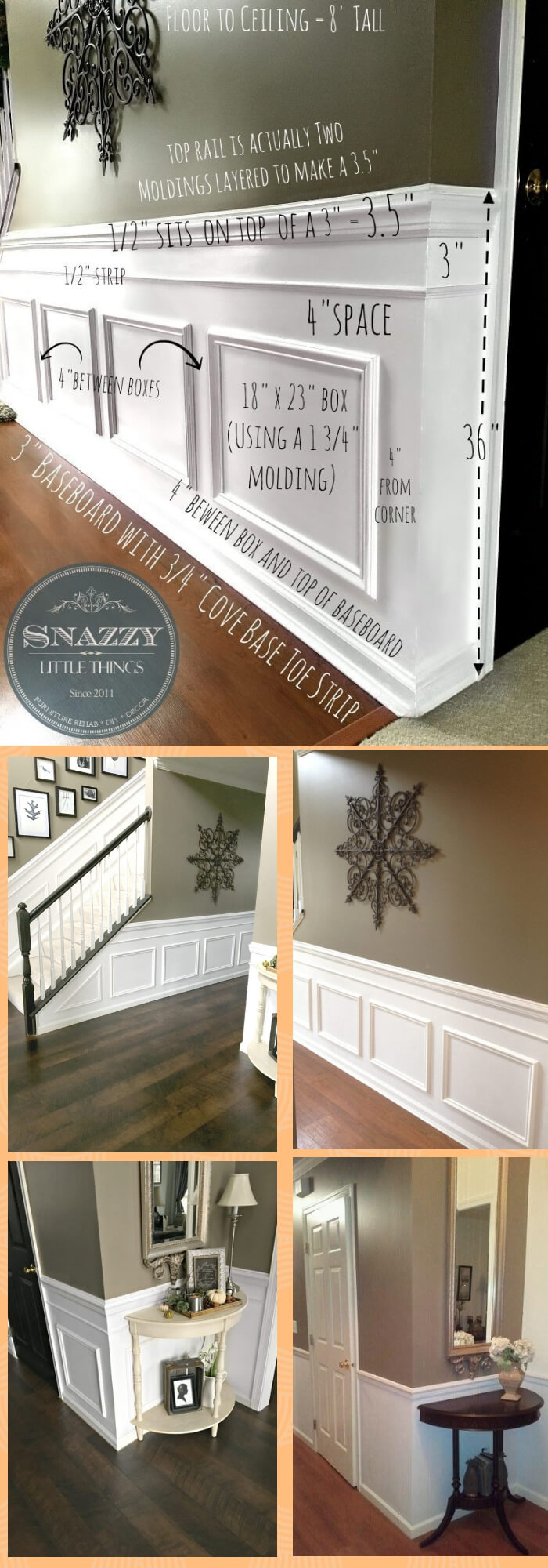 DIYClassic Wainscoting for entryway and hallway | Amazing Wainscoting Ideas for Your New Home