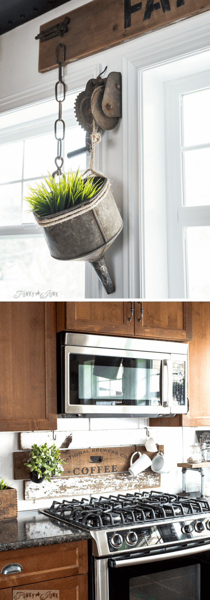 Old funnel plant hanger | Best Farmhouse Indoor Plant Decor Ideas & Designs