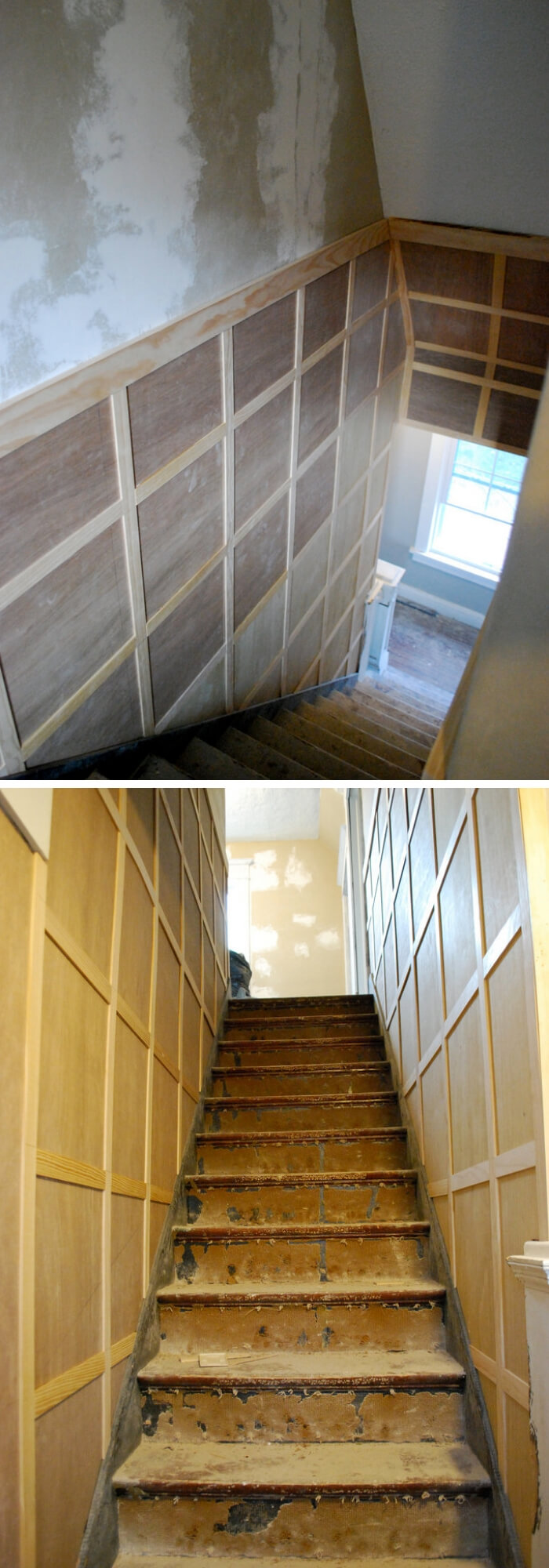 Board and batten stairwell | Amazing Wainscoting Ideas for Your New Home
