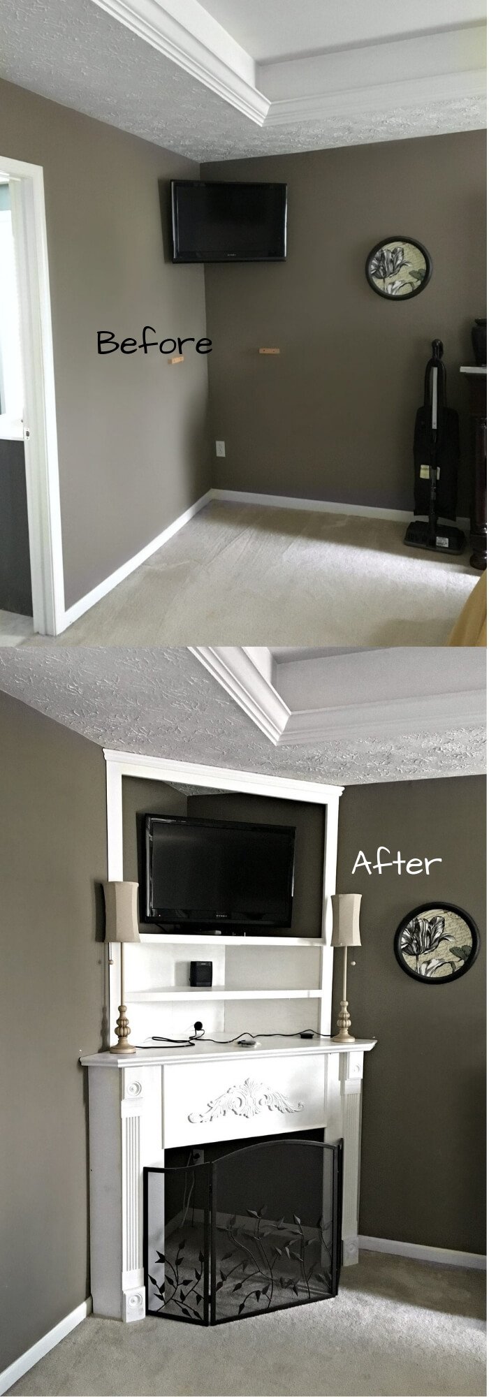 Before and After DIY Corner Fireplace Mantel