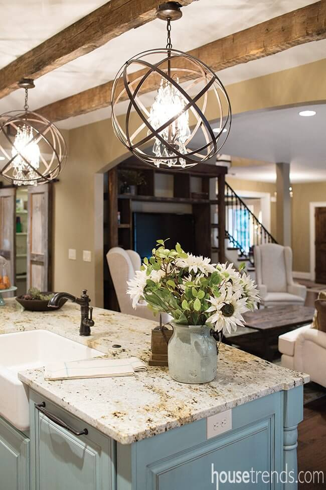 Farmhouse Lighting Designs & Ideas: Remodeled Kitchen With Crystal Chandelier