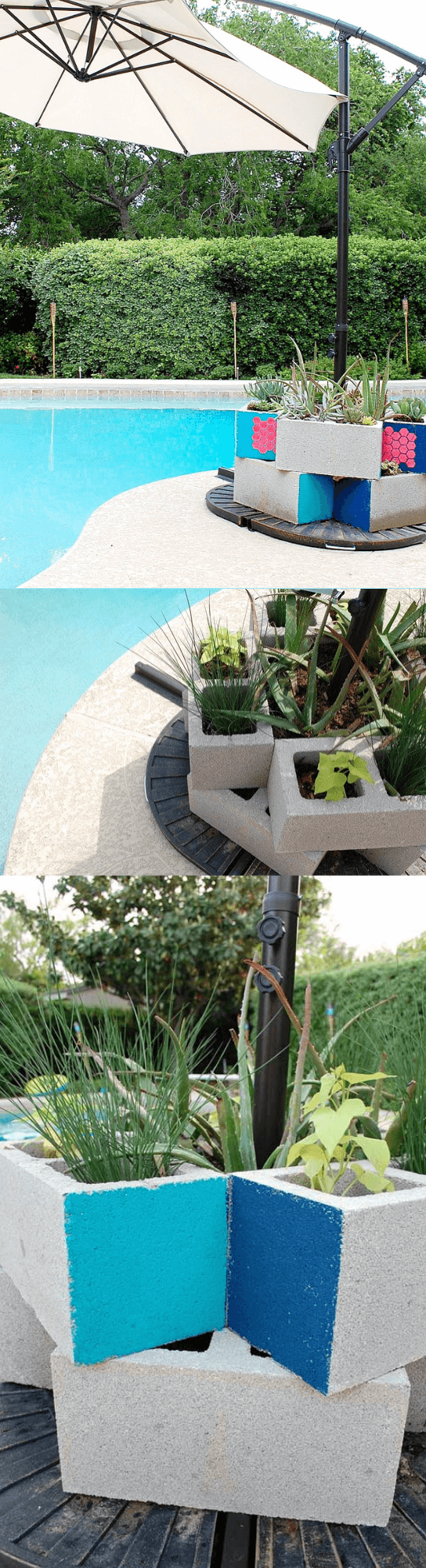 Stenciled Cinder block Pool Umbrella Weight and Planter