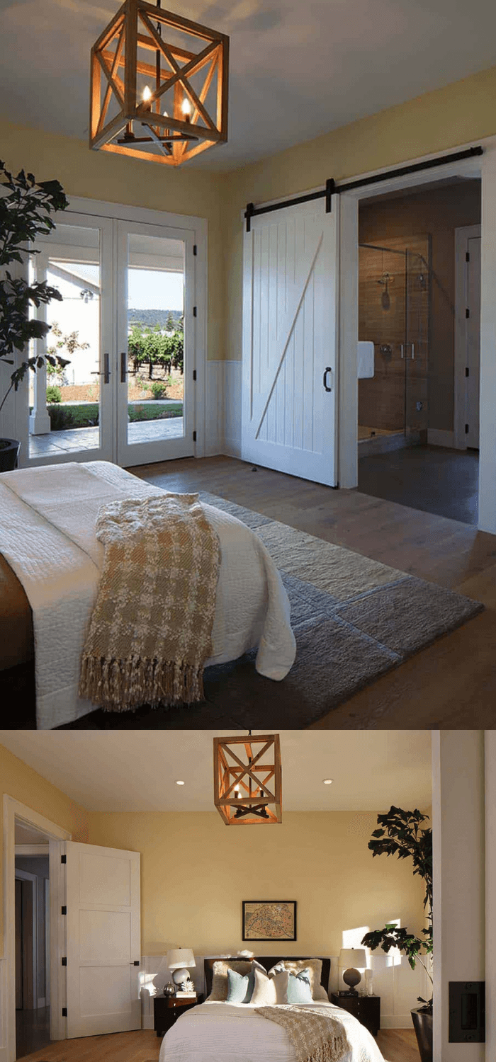 Adding sliding barn door that provides privacy to the en-suite bathroom