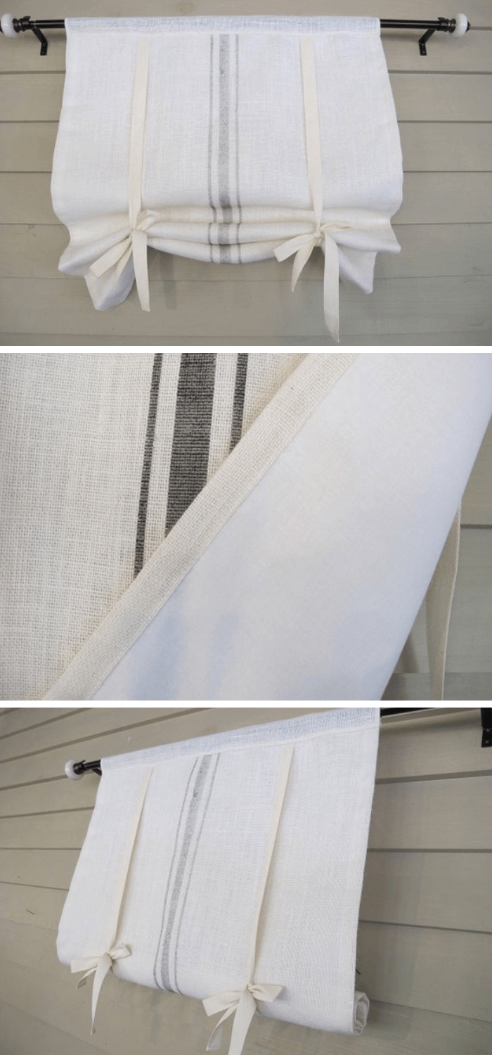 White Burlap Tie Up Shade with GRAY Painted