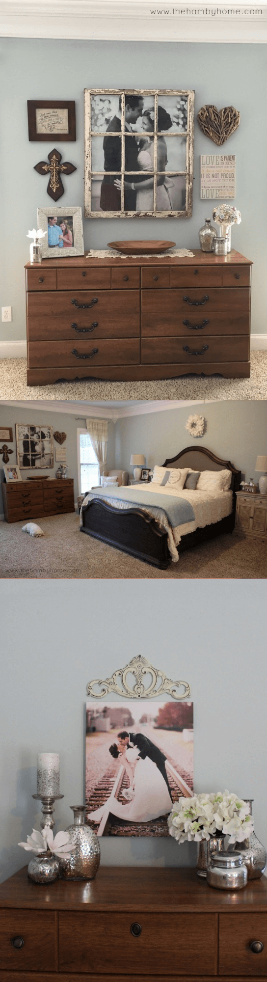Master bedroom with picture frame