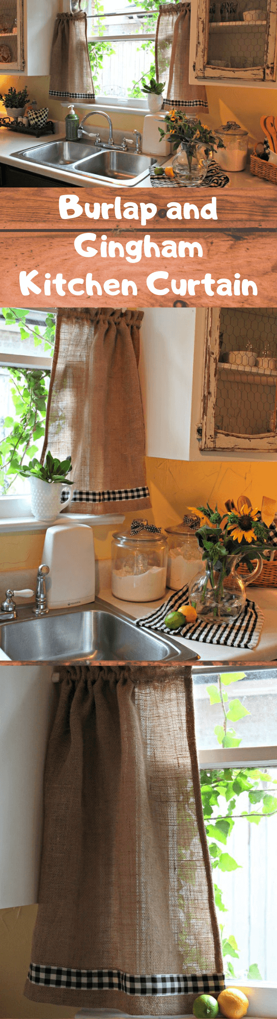 Burlap and Gingham Kitchen Curtain