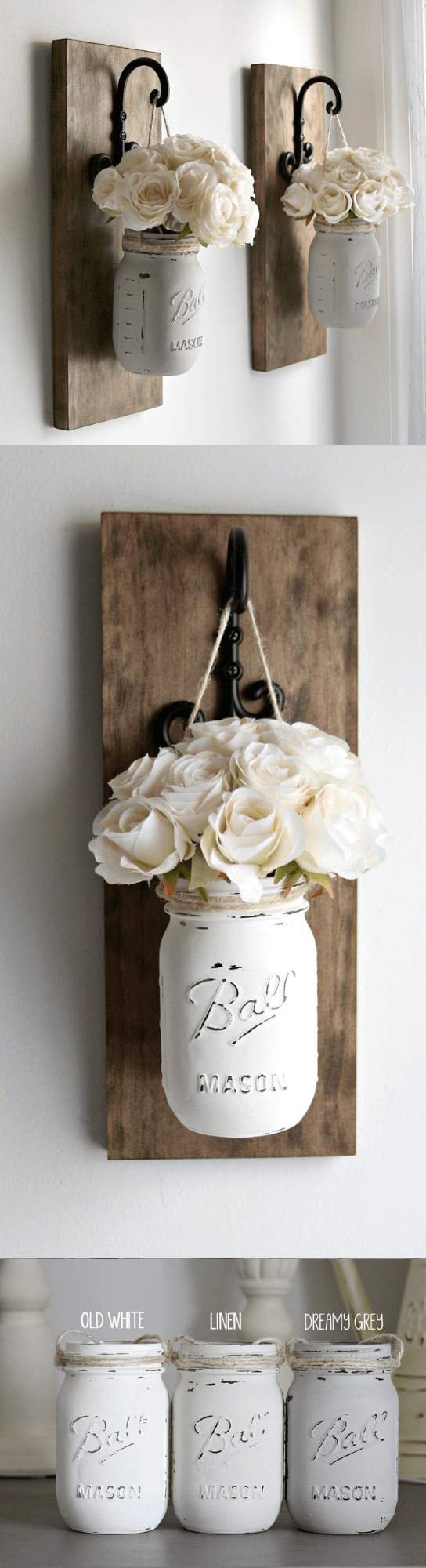 Hanging Painted Mason Jar Wall Sconces