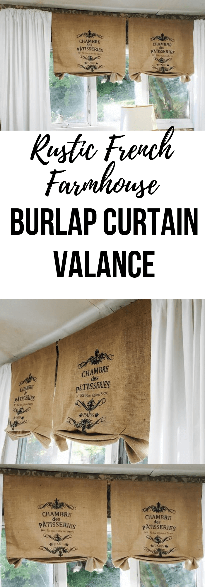 Rustic French style Patisseries Burlap Curtain Valance