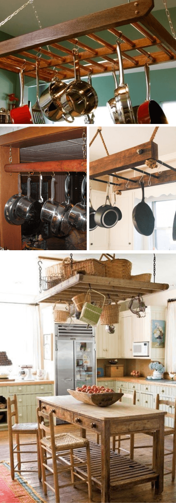 Kitchen Decor Projects With Reclaimed Wood Wooden Hanging Pot Rack