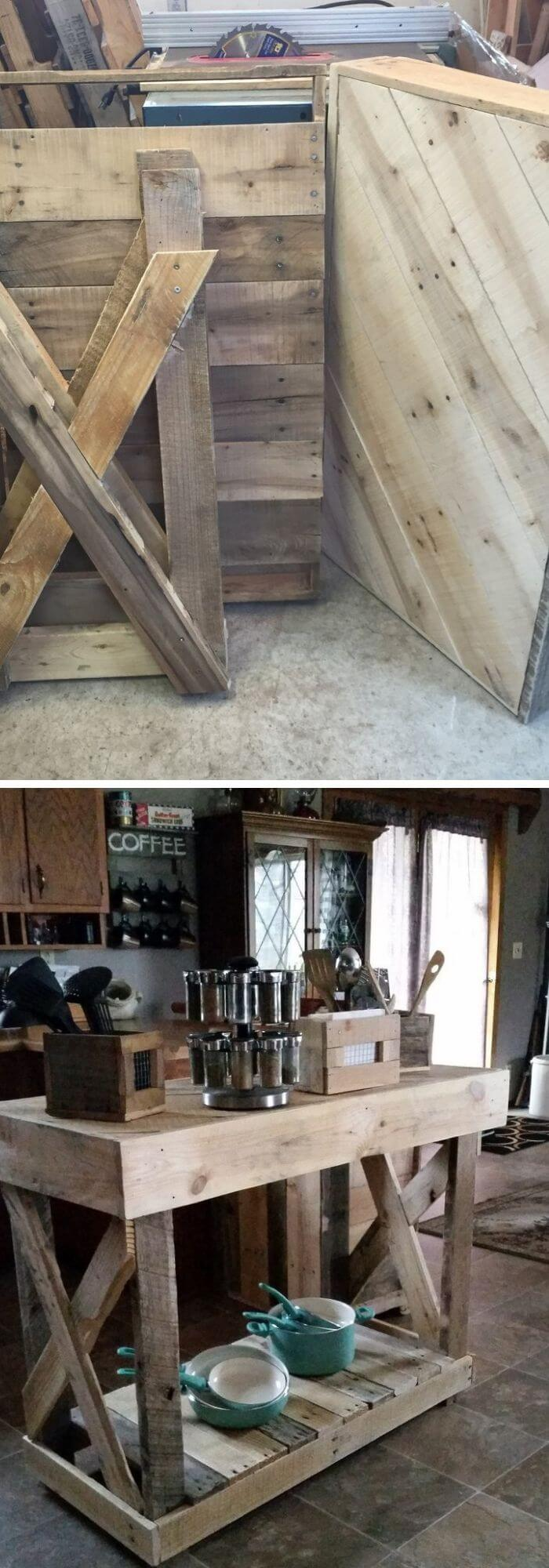 Kitchen Decor Projects With Reclaimed Wood Kitchen island from wooden pallets