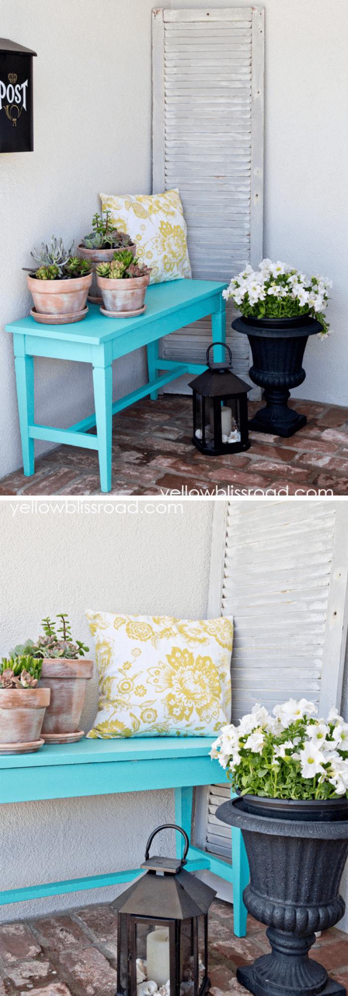 Old Shutter Outdoor Decor Ideas Summer Porch with white shutters and succulents