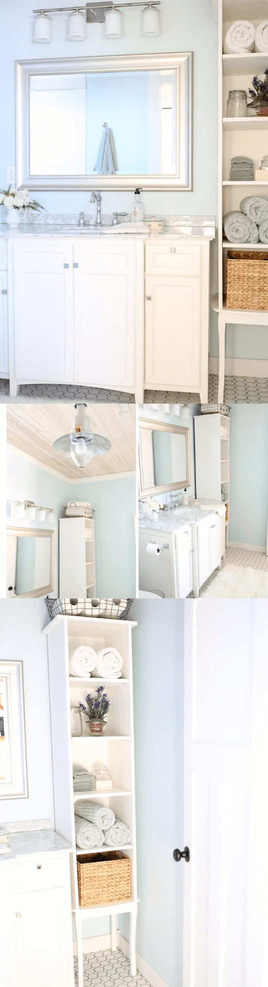 Charming Cottage Style Bathroom Ideas Marble countertop, mirror and storage