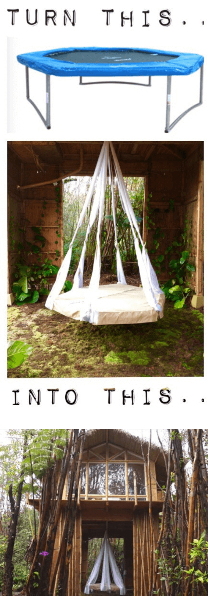 best backyard hammock ideas Make a Hanging Bed out of a Trampoline