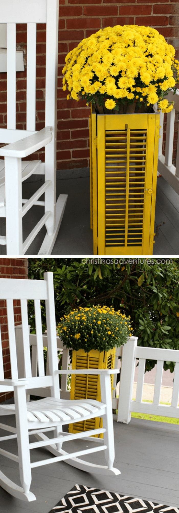 Old Shutter Outdoor Decor Ideas Yellow shutter planter for summer and fall porch