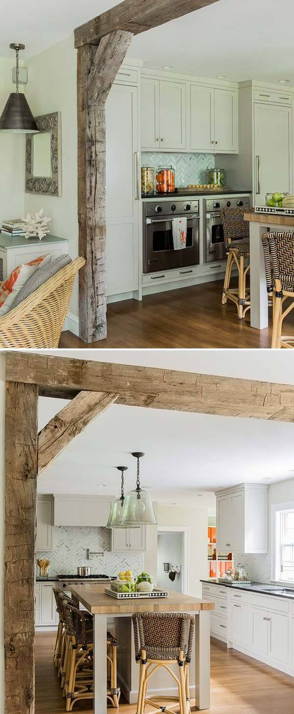 Kitchen Decor Projects With Reclaimed Wood Bringing rustic style into our living room and kitchen with DIY wood beam doorway