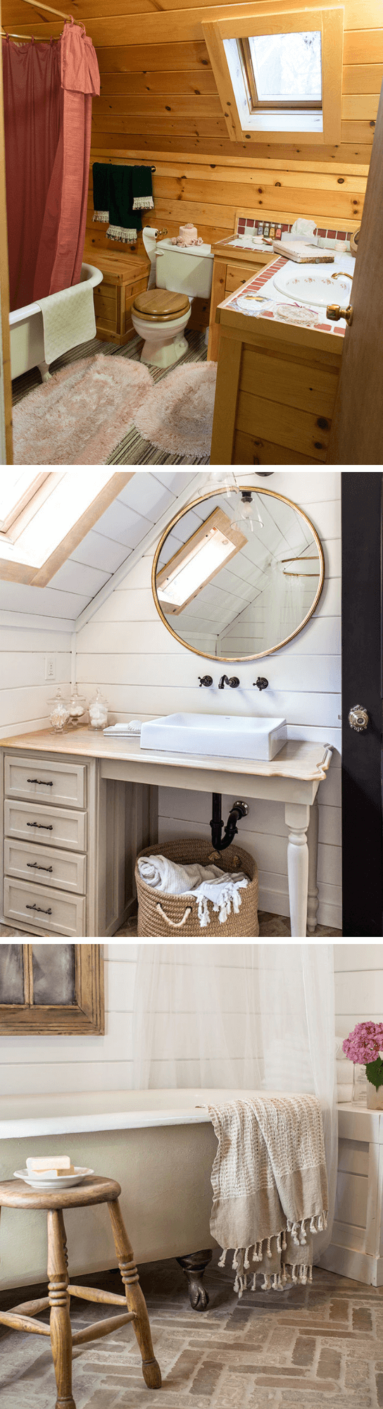 Charming Cottage Style Bathroom Ideas Upstairs Bathroom Before and after with herringbone brick floors