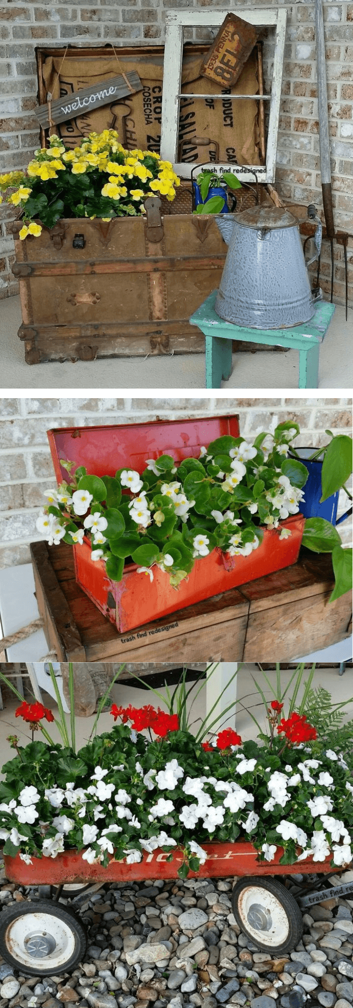 Vintage trunk flower (Repurposed Rustic Reused Reclaimed Stuff)