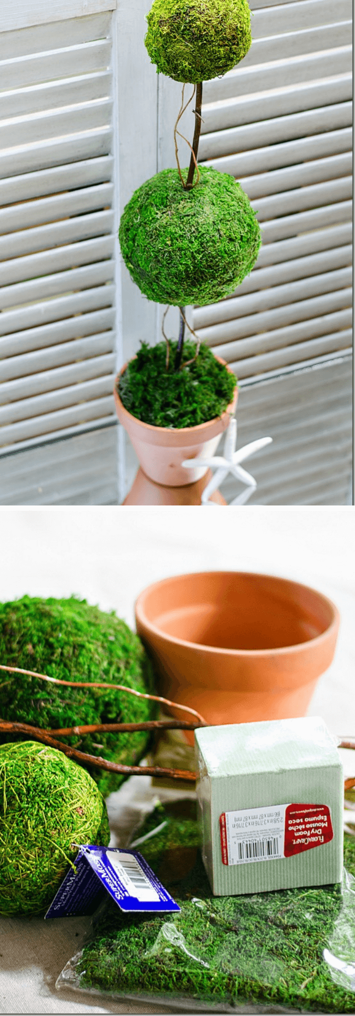how to make a topiary tree in pot for beginners DIY faux moss topiary