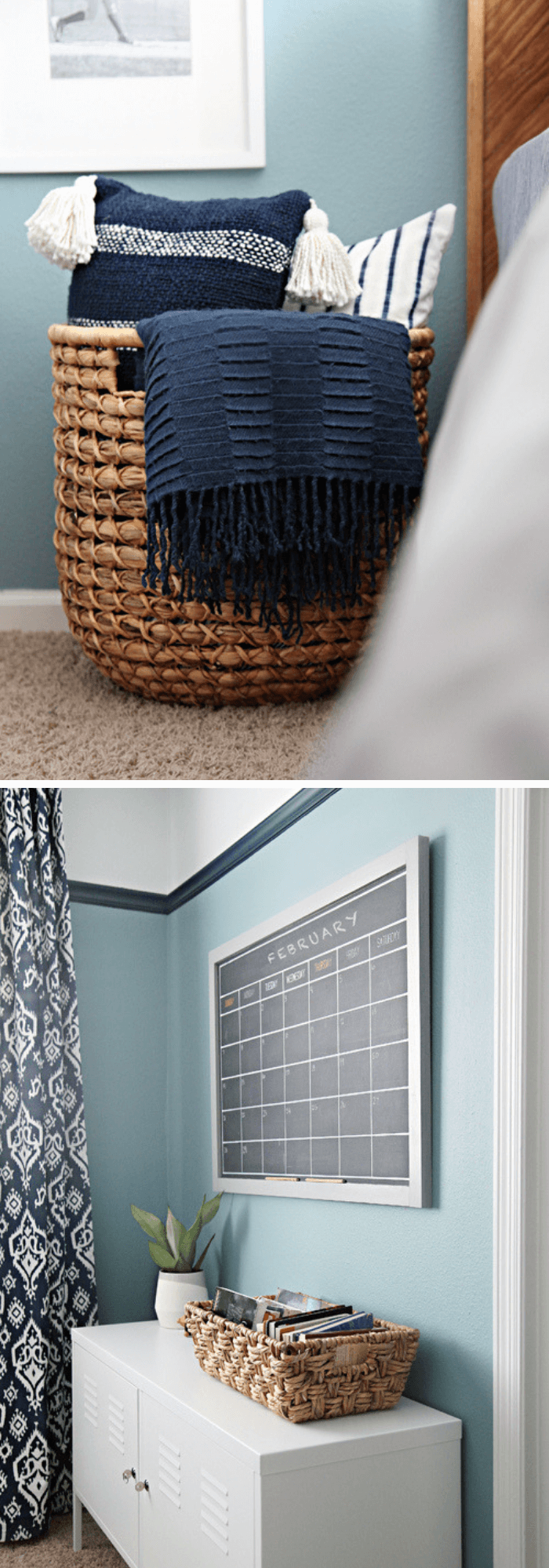 best bedroom organization ideas Over-sized basket for pillows