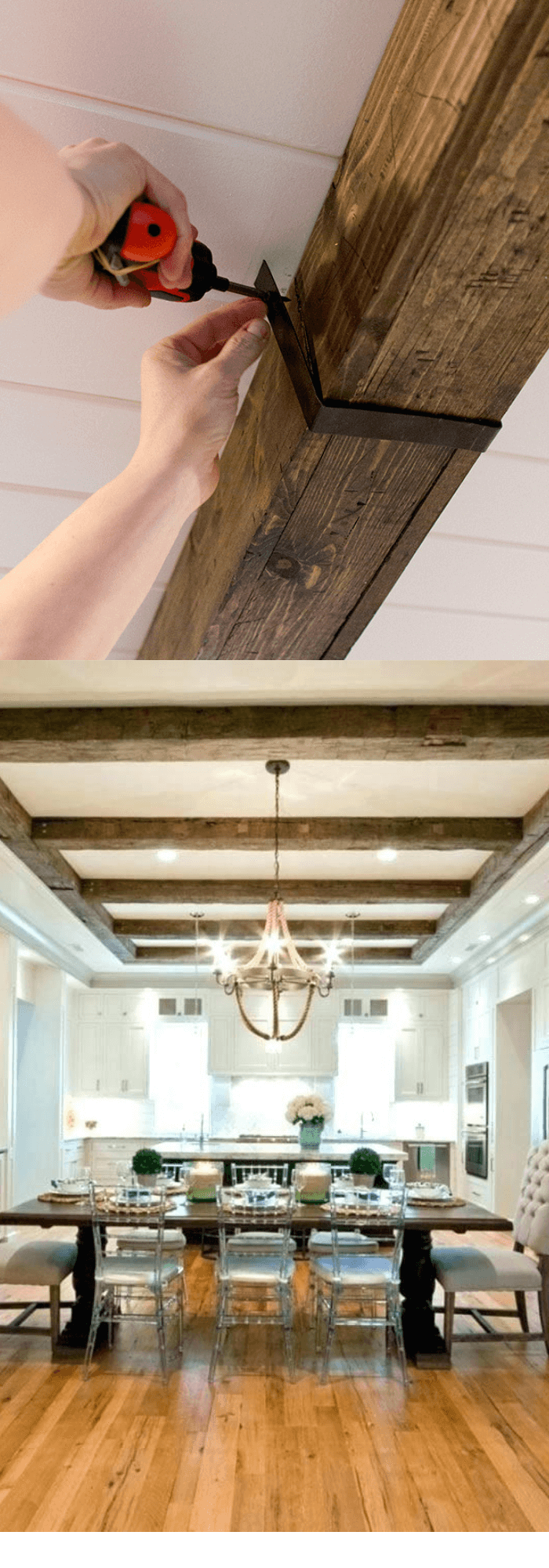 Kitchen Decor Projects With Reclaimed Wood DIY Wood Beams