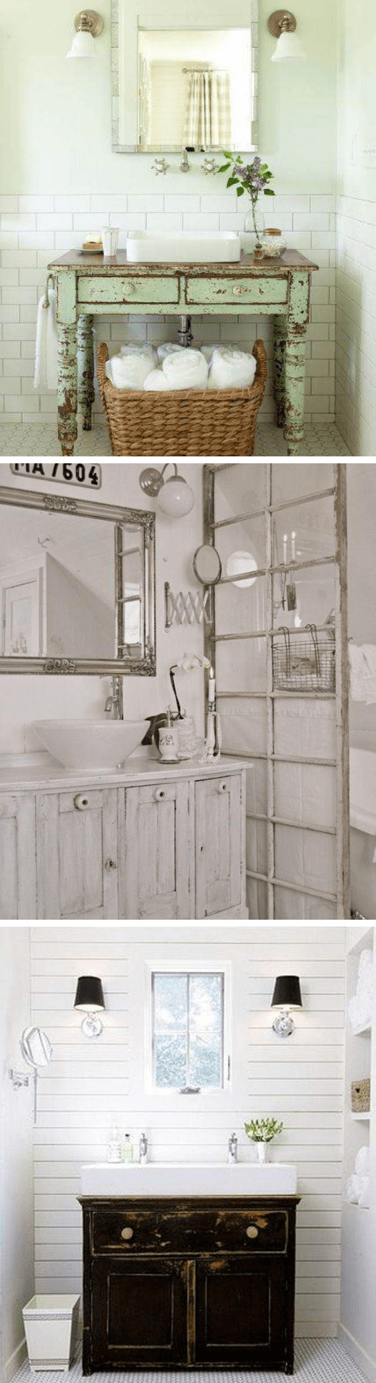Charming Cottage Style Bathroom Ideas A painted chest drawer in bathroom