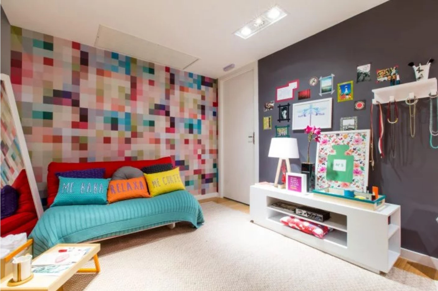 Bedroom with pixelated wall