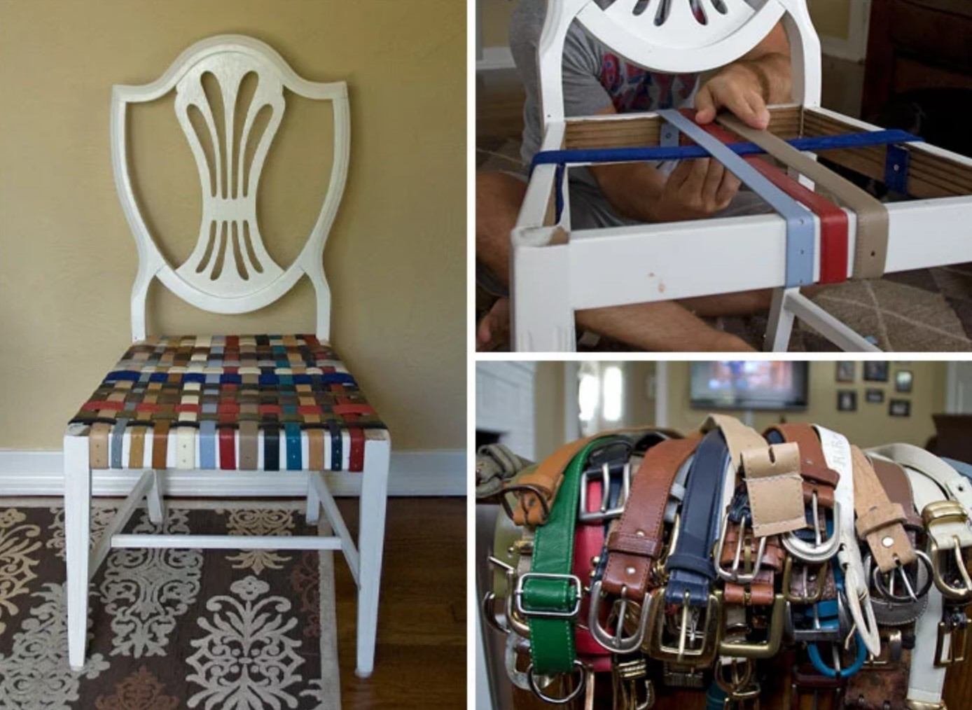 The seat of a chair created with belts