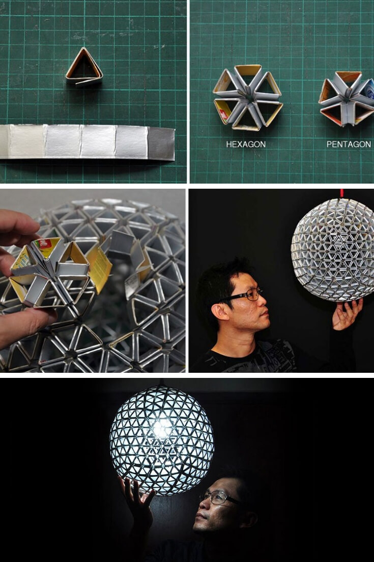 Lamp made with recycled milk cartons